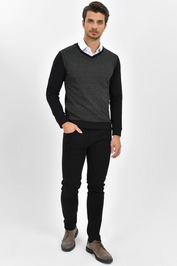 Siyah V Yaka Sweatshirt