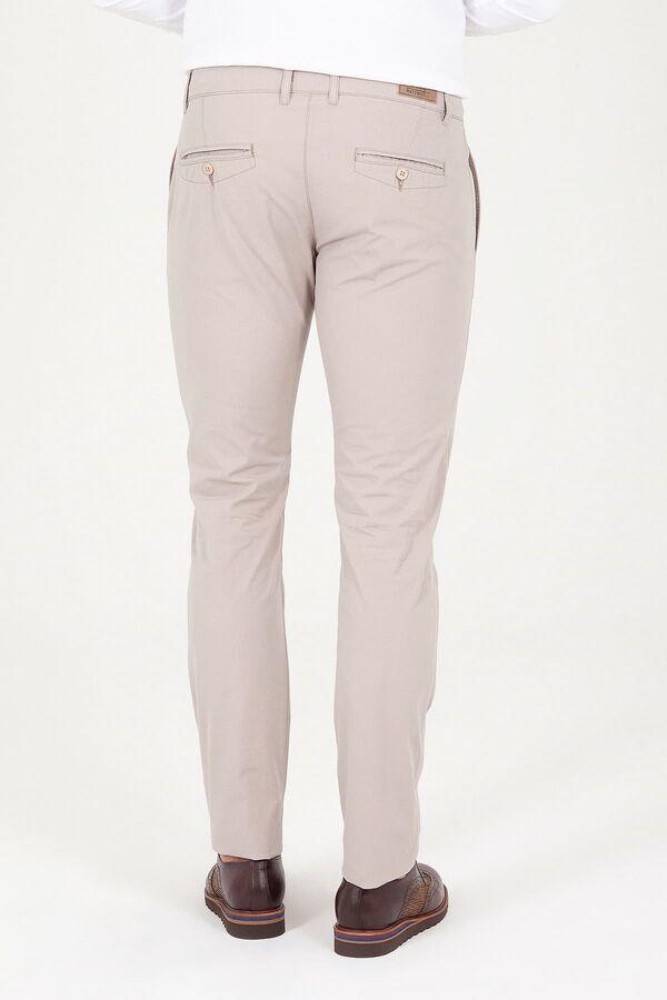 Bej Slim Fit Yandan Cep Pantolon