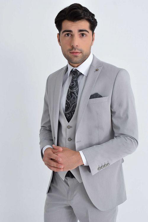 Yelekli Slim Fit Vizon Takım Elbise
