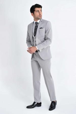 Yelekli Slim Fit Vizon Takım Elbise - Thumbnail