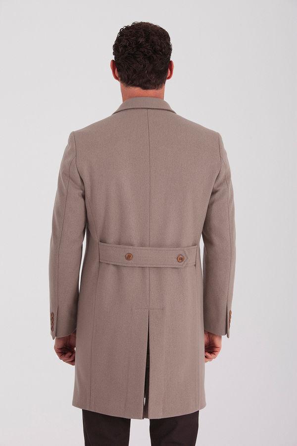 Vizon Ceket Yaka Yünlü Palto