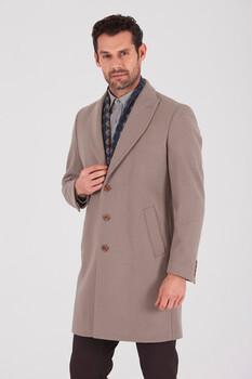 Vizon Ceket Yaka Yünlü Palto - Thumbnail