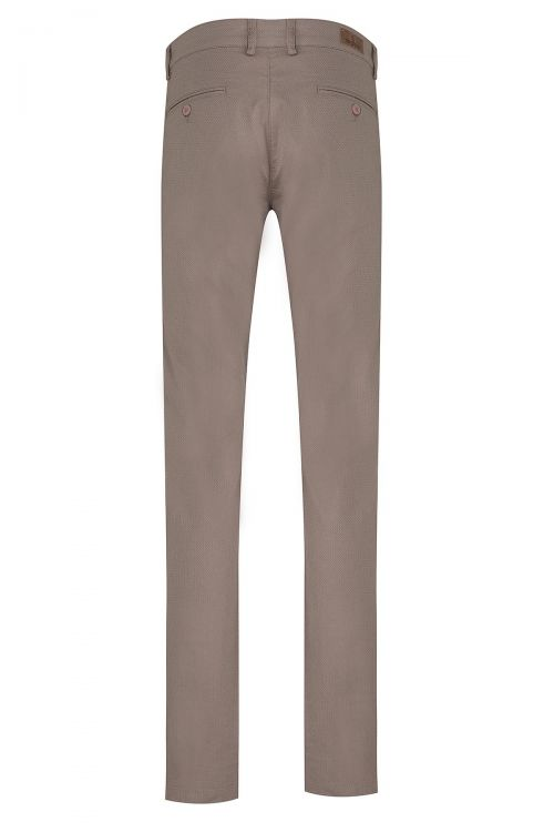 Vizon Desenli Slim Fit Pantolon