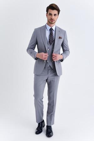 Gri Desenli Slim Fit Yelekli Takım Elbise