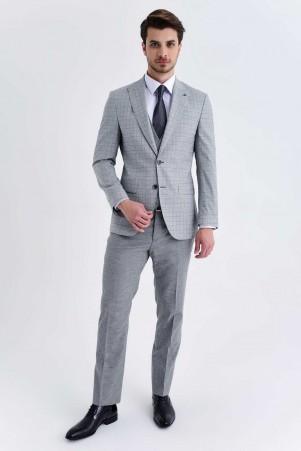 Açık Gri Kareli Slim Fit Yelekli Takım Elbise - Thumbnail