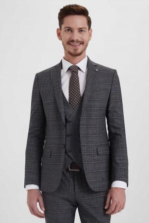 Antrasit Kareli Slim Fit Yelekli Takım Elbise - Thumbnail