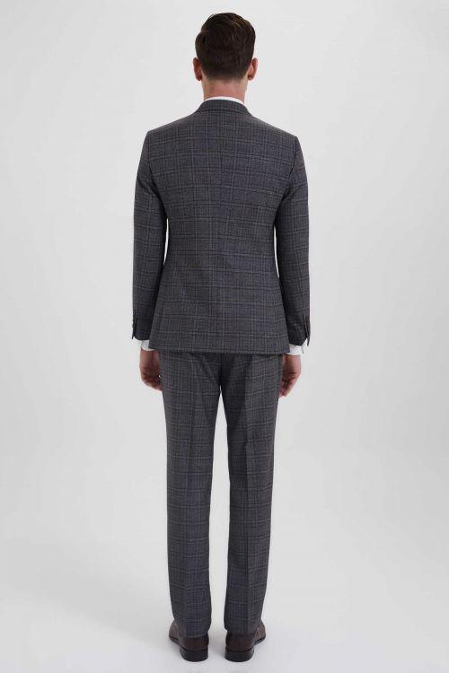 Antrasit Kareli Slim Fit Yelekli Takım Elbise