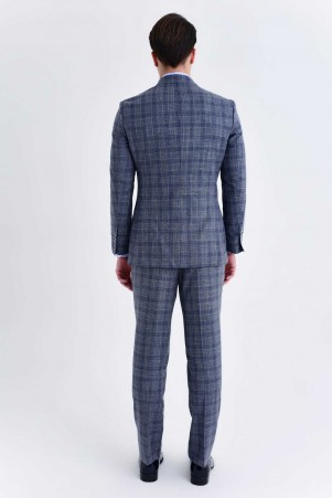 Gri Kareli Slim Fit Yelekli Takım Elbise - Thumbnail