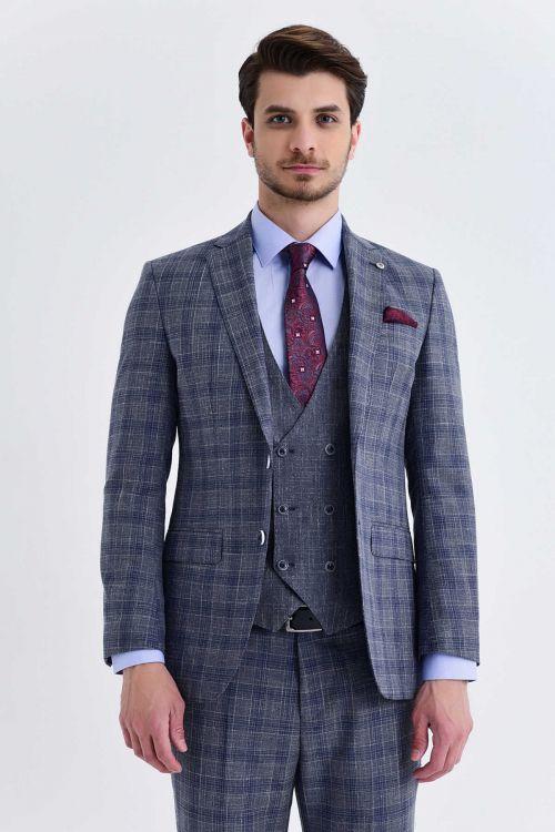 Gri Kareli Slim Fit Yelekli Takım Elbise