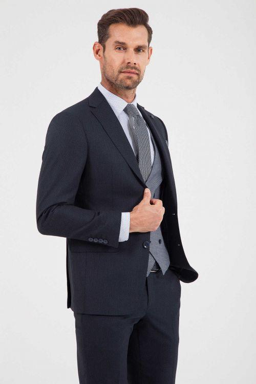 Lacivert Desenli Slim Fit Yelekli Takım Elbise