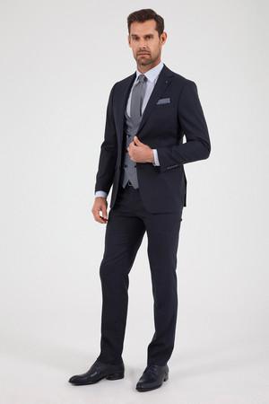 Lacivert Desenli Slim Fit Yelekli Takım Elbise - Thumbnail