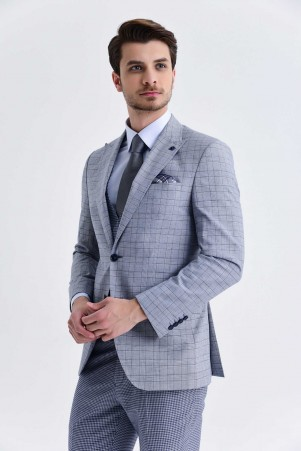 Mavi Kareli Slim Fit Yelekli Takım Elbise - Thumbnail