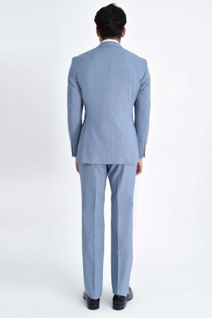 Mavi Desenli Slim Fit Yelekli Takım Elbise - Thumbnail