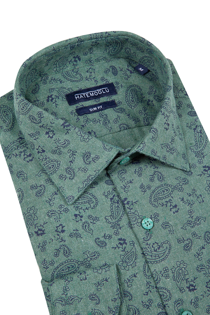 Yeşil Baskılı Slim Fit Flanel Gömlek - Thumbnail
