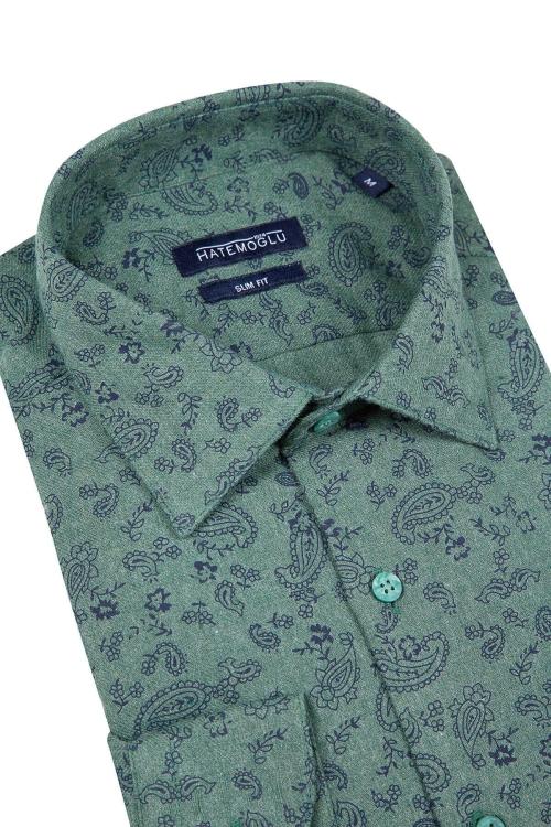 Yeşil Baskılı Slim Fit Flanel Gömlek