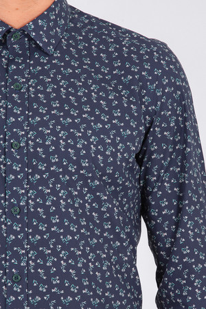 Yeşil Baskılı Slim Fit Gömlek - Thumbnail