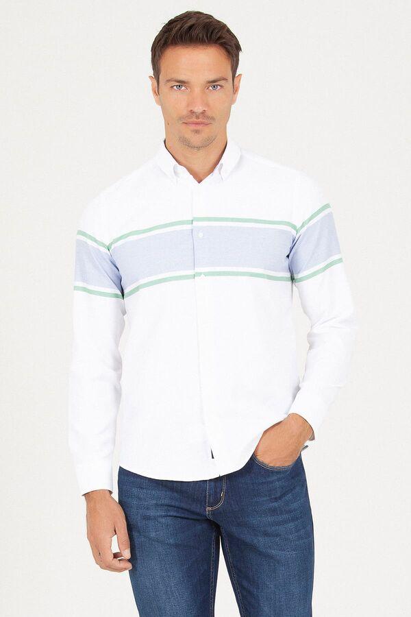 Slim Fit Çizgili Beyaz Gömlek