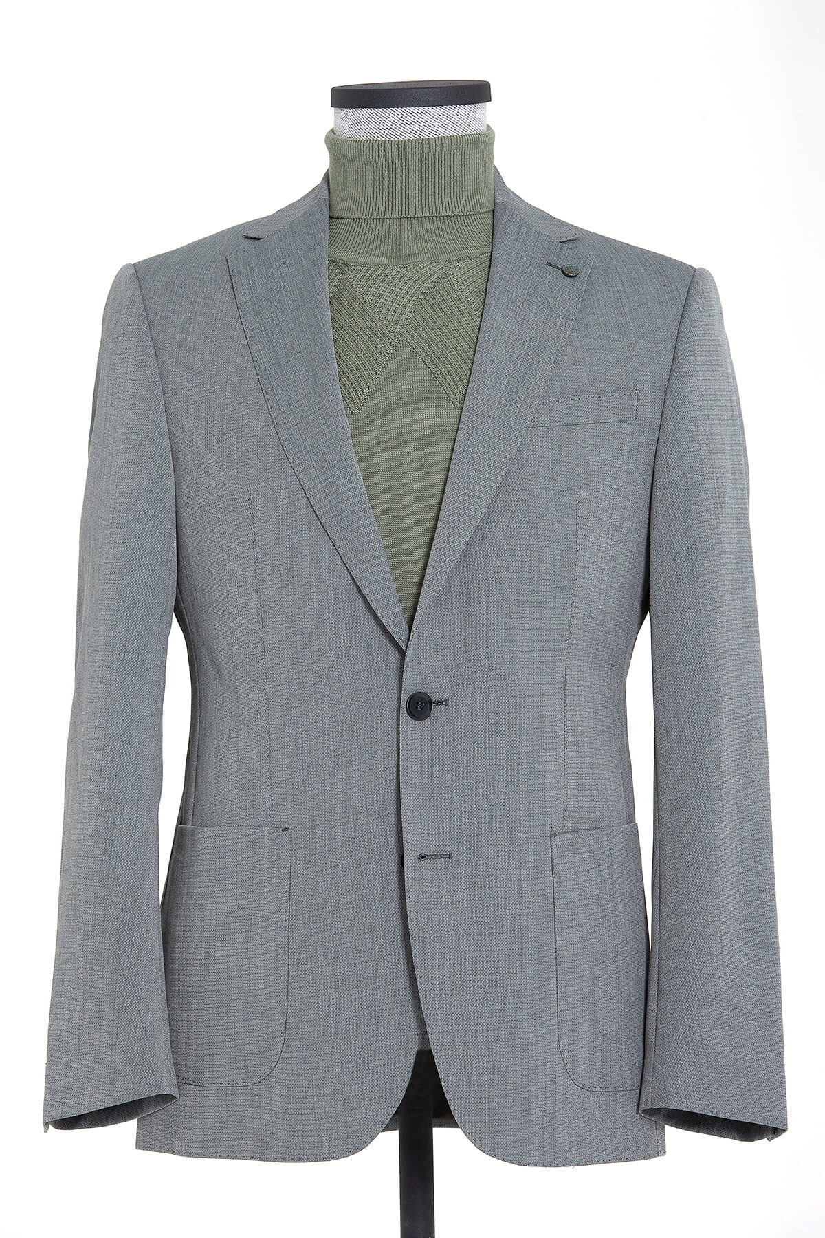 Yeşil Desenli Slim Fit Ceket - Thumbnail