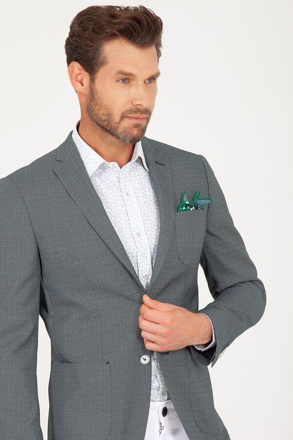 Yeşil Slim Fit Desenli Ceket