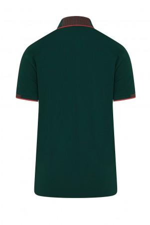 Yeşil Polo Yaka Regular Fit Tişört - Thumbnail