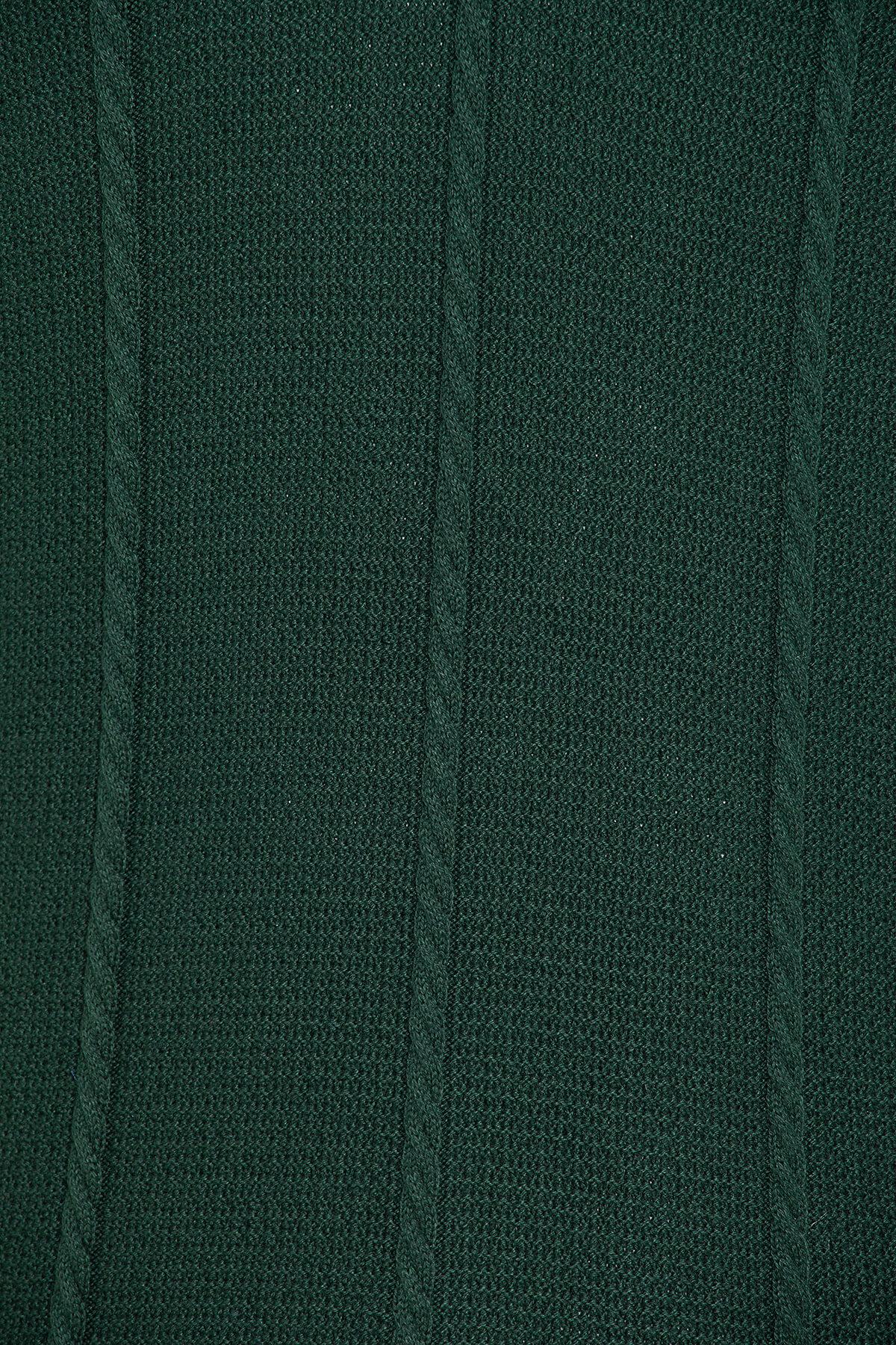 Yeşil Desenli Polo Yaka Kazak