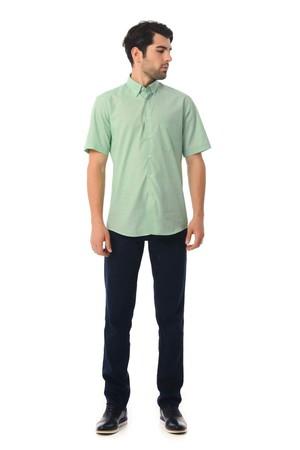 Yeşil Regular Fit Kısa Kol Gömlek - Thumbnail